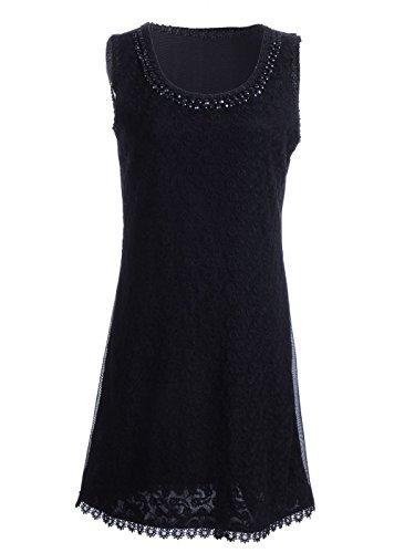 Anna-K S/M Fit Black Rhinestone Embellished Neckline Floral Lace Trim - Dress Embellished Neckline