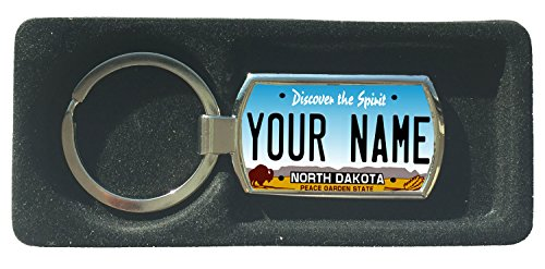 BleuReign(TM) Personalized Custom Name North Dakota State License Plate Metal Keychain ()