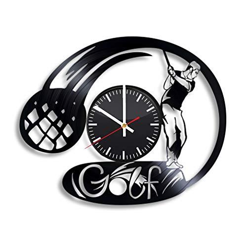 (Golf Vinyl Wall Clock, Golf Player Art Handmade Gift Idea for Any Occasion, Original Home Room Kitchen Decor, Vintage Modern Style)