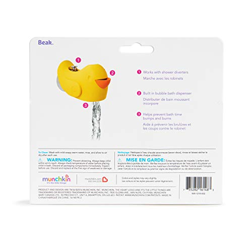 """419dqw2MQyL Munchkin Bubble Beak Bath Spout Cover Safety Guard, Yellow    """"Ouchie."""" is every parent's least favorite word when bathing their child. Protect your little one from bath time bumps and burns with this snug-fitting spout guard. With an adjustable strap, this spout guard fits to most faucets and protects your little one's head from bumps or burns. And when you need to turn the showerhead on, you don't have to remove Beak. The open-top design gives you access to the diverter at all times. There's even a bubble bath dispenser for sudsy fun. So if you want to ensure your little one's safety and let the good times flow, Beak is sure to fit the bill."""