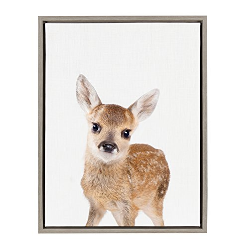 Kate and Laurel - Sylvie Baby Deer Animal Print Portrait Framed Canvas Wall Art by Amy Peterson, Gray 18 x 24 by Kate and Laurel