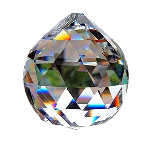 Crystal Sphere Round Prism Faceted Ball Feng shui Decorative 40mm (Faceted Sphere)