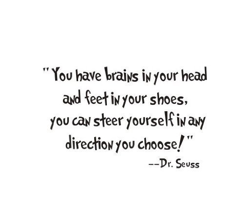 1 X Good Life You Have Brains in Your Head and Feet in Your Shoes Quote From Dr. Seuss Saying Home Decor Decal Sticker