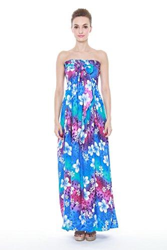 Aloha L'arc-en-cravate Maxi Féminin De Mode Hawaiien Robe Luau Élastique Bleu