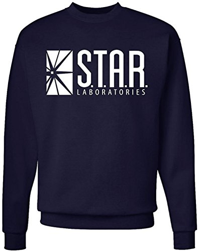 NuffSaid Star Laboratories Star Labs Sweatshirt Sweater Crew Neck Pullover - Premium Quality (Medium, Navy Blue)