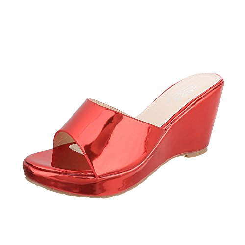 Ital-Design Pantoletten Damenschuhe Jazz & Modern Keilabsatz/Wedge Keilabsatz Sandalen/Sandaletten Rot