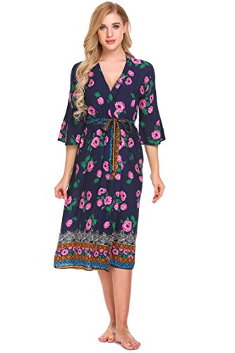 Womens Bathrobe Print Long Lightweight Spa Kimono Robe Sleepwear