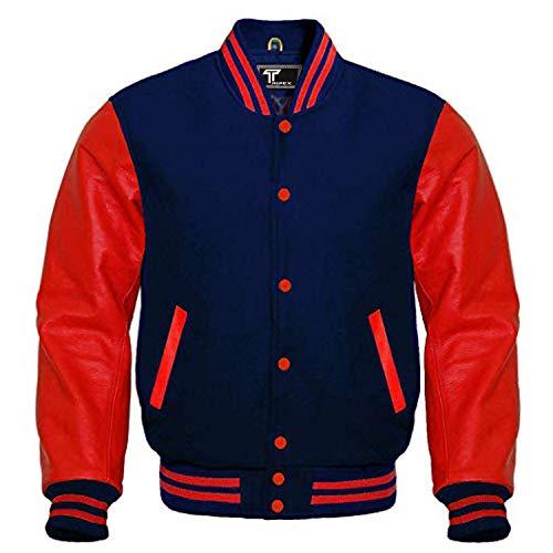 Premium Letterman Baseball School College Bomber Varsity Jacket Wool Blend & Genuine Leather Sleeves (Navy Blue/Red, Large)