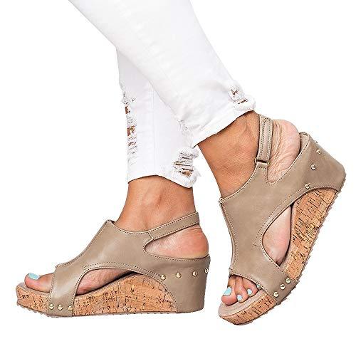 Athlefit Women's Cutout Belt Wedges Sandals Platform Faux Leather Cork High Heels Size 8 Tan