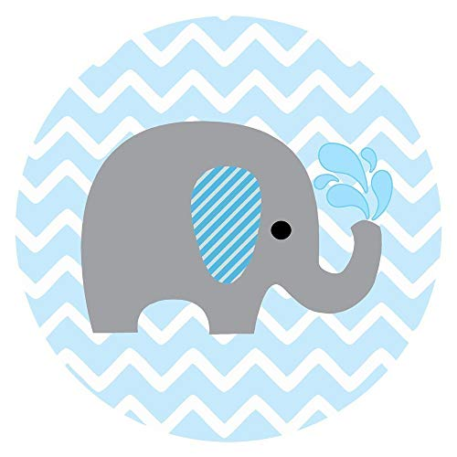 Baby Boy Elephant Stickers for Baby Shower and Birthday Favor Labels in Blue Chevron - Set of 50