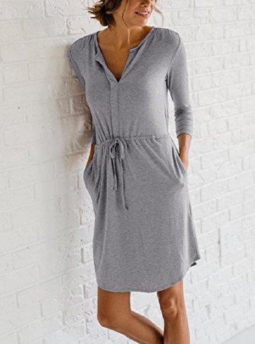 Coolred-femmes Cordon De Serrage Tunique De Couleur Unie V-cou Court Robes Mini Gris