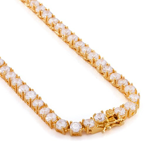Single Row Chain - J.Shine Men 5mm Clear CZ Single Row Tennis Chain Necklace 24