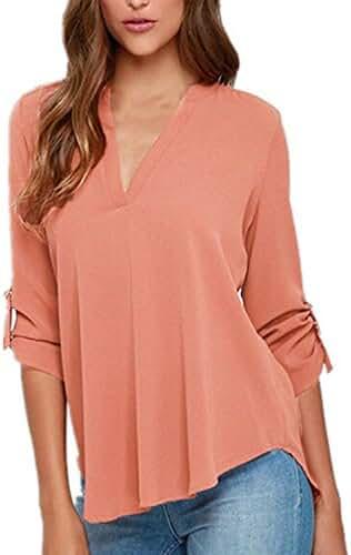 ZANZEA Women's Plus Size Chiffon Solid V Neck Cuffed Sleeve T Shirt Blouse Tops