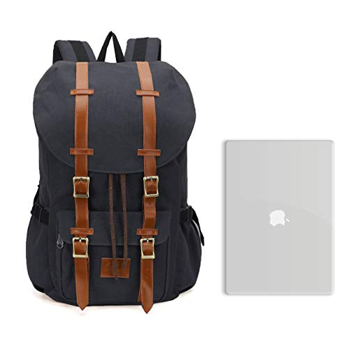 ONEB Casual Laptop Canvas Backpack Unisex Vintage Leather School Bags Large Capacity Hiking Travel Rucksack Business Daypack (19 inches Black) by ONEB (Image #6)