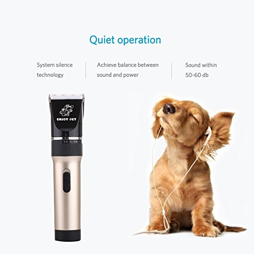 ENJOY PET Dog Clippers Cat Shaver, Professional Hair Grooming Clippers Detachable Blades Cordless Rechargeable with Scissor, Guards, Combs for Dog Cat Small Animal, Quiet Animal Horse Clippers (Gold)