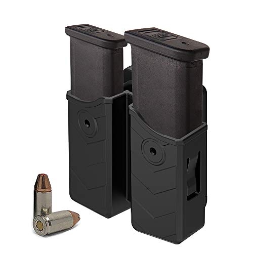 Double Magazine Holder - HQDA Universal Double Magazine Holster, Mags Pouch, Fits Glock 17 19 22, 9MM/.40 Cal Dual Stack Mag Holder, Duty Belt OWB Handgun Case for Taurus CZ S&W Sig Sauer Beretta H&K Colt Browning Ruger CANIK