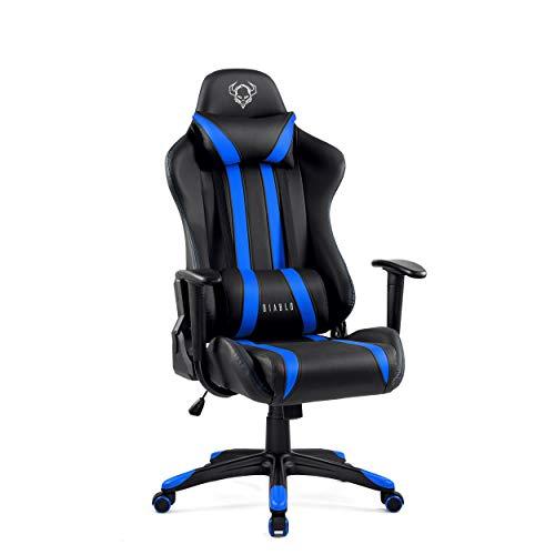 Diablo X-One Gaming Silla de Oficina Diseno Ergonomico Mecanismo de Inclinacion Cojin Lumbar y Almohada Cuero Sintetico (Negro-Azul)