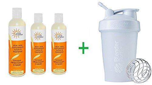 Earth Science, Aloe Vera Complexion Toner & Freshener, Alcohol Free, 8 fl oz (237ml) (3 Packs) + Sundesa, BlenderBottle, Classic With Loop, White, 20 (Aloe Vera Freshener)