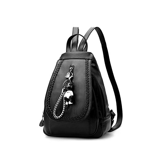 Black Shoulder Bag Women Backpack Leather 3 Girls Daypack PU Fashion amp;DORIS NICOLE Satchel Schoolbag Classic Travel Black 808q6w