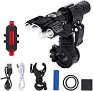 Ultra Bright USB Rechargeable Bike Light Set 500 Lumen Powerful Front Headlight and Back Taillight 4 Modes Eas