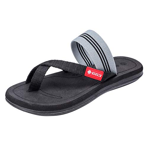 HTHJSCO Men Women Casual Flip Flop Sandals, Fashion Couples Casual Striped Flip Flop Slippers Beach Outdoor Shoes (5.5, Black) from HTHJSCO