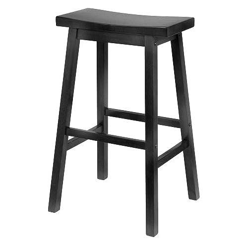Winsome Wood 29 Inch Saddle Seat Bar Stool, Black
