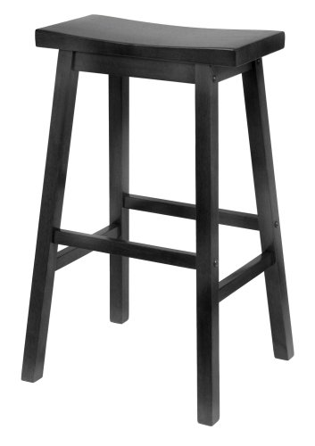29 Inch Saddle Seat Wood (Winsome Wood 29-Inch Saddle Seat Bar Stool, Black)