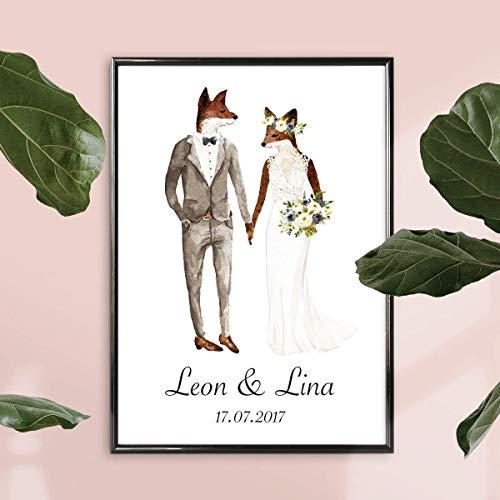 Personalisierte Hochzeitsgeschenke   Personalisiertes Bild Fuchs Hochzeit Mit Oder Ohne Rahmen