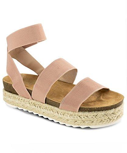 ebb62986d832 RF ROOM OF FASHION Women s Slide On Espadrille Platform Comfort Ankle  Elastic Strap Footbed Wedge Sandal Shoes Pink (10)