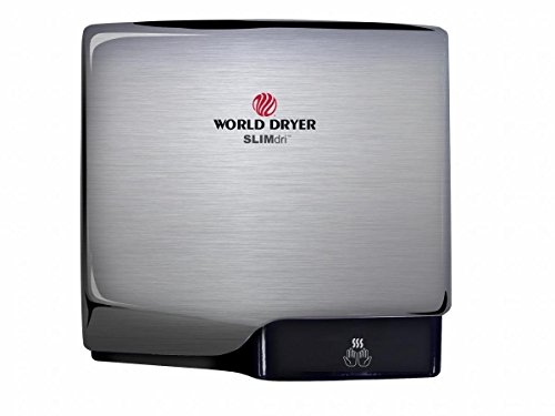 Slimdri World Dryer L-973 Brushed Stainless Steel ADA Compliant Hand Dryer, High Speed, Electric, 110-240 Volt, Cool or Warm Air Option, Energy Efficient, Fast 10-15 Second Dry Time, 10 Year Warranty (Best Energy Efficient Dryer)