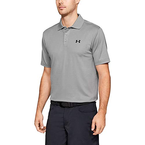 Under Armour Mens Performance Polo, True Gray Heather (025)/Black, Large