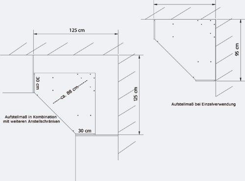 Eckkleiderschrank in Alpinweiß, Aufstellmaß 120 x 120 cm, Maße: B ... | {Eckschrank küche maße 22}