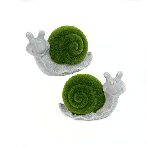 Mission Gallery Darling Set of 2 Adorable Terra Cotta Flocked Snail Patio Garden Figurines ~ 7