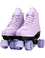 Purple Roller Skates Women,High-Top Four-Wheel Roller Skates Outdoor Roller Skate Shoes for Youth and Adults