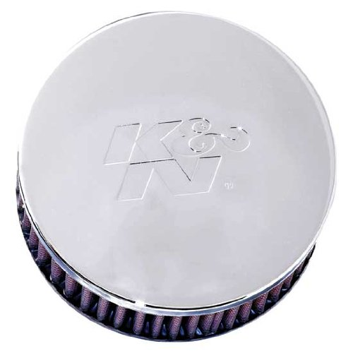 K&N RC-0850 Universal Clamp-On Air Filter: Round Straight; 2.438 in (62 mm) Flange ID; 2 in (51 mm) Height; 5.125 in (130 mm) Base; 5.125 in (130 mm) Top