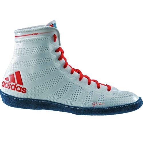 Adidas Adizero Varner Lucha de zapatos, negro real / blanco /, 4 M con nosotros White/Navy/Red