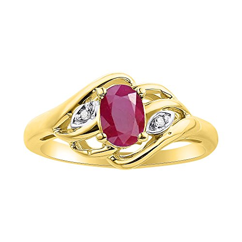 Diamond & Ruby Ring Set In 14K Yellow Gold Birthstone (Claddagh Gold Ring Ruby Yellow)