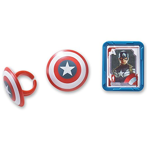Marvel Captain America Shield Rings, 12 Pack Cupcake Toppers, Two Designs.