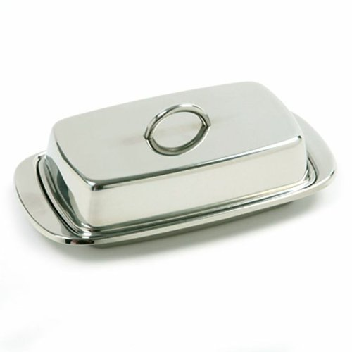 Norpro 282 Stainless Steel Double Covered Butter Dish, Silver (2)