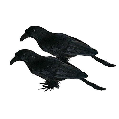 BUNITA,2pcs Realistic Looking Halloween Decoration Birds Black Feathered Crows Halloween Prop Decor