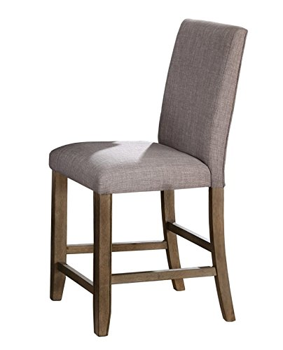 Manning 2 Grey Fabric Counter Height Chairs w/Nailheads by Crown Mark (Nh Furniture Rustic)
