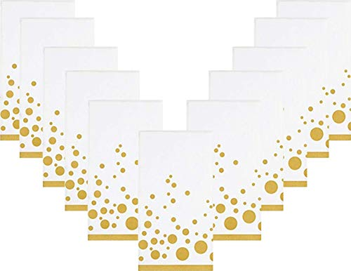 Gold Dot Holiday Wedding Disposable Paper Dinner Napkins/Guest Towels - Sparkle and Shine 2 Pack - 32 Total