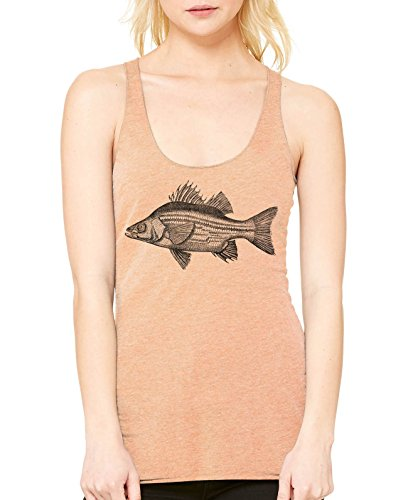 reshwater Bass Ladies Triblend Racerback Tank (Light Orange, Small) (Bass Womens Sleek)