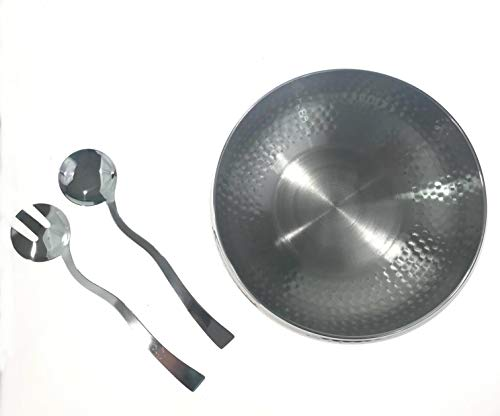 - 3pc Hammered Salad Bowl with 2 Serving Utensils - Complete With Matching Oversized Spoon and Fork - Use as a Salad Bowl, Fruit Bowl or Even for Pasta - Elegant and Stylish Serving Bowl