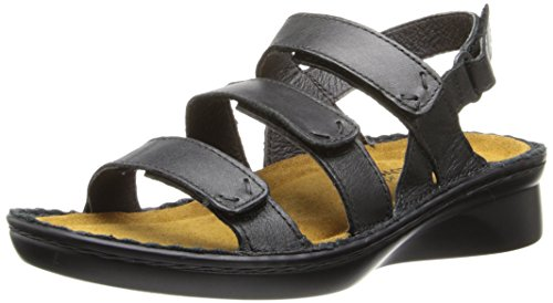 Naot Women's Jive Flat,Shiny Black Leather,35 EU/4 M US by NAOT