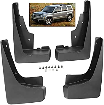 Front+Rear Deluxe Molded Mud Flaps Splash Guards 4x For Patriot 2011 thru 2016