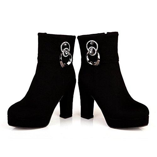 BalaMasa Womens Glass Diamond Metal Ornament Platform Imitated Leather Boots Black ijGF8DMV