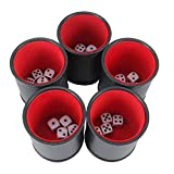 IRONWALLS Bundle of 5 Professional Dice Cup Set Felt Lined Quiet Shaker PU Leather with 25 Six-Sided Dot Dice for Games