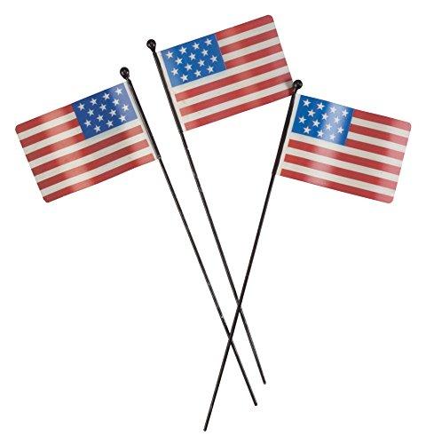 Metal American Flag Planter Stakes, Set of 3 by Maple Lane (Flag Planter)