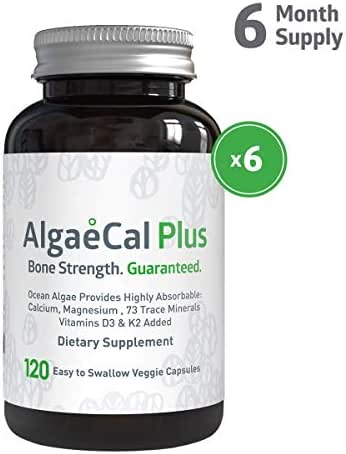 AlgaeCal Plus - Natural Calcium, Magnesium, Vitamin K2 + D3 Supplement - Increase Bone Strength - All Natural Ingredients - Plant-Based - Dietary Supplement - One Bottle - 120 veggie capsules - 6 PACK